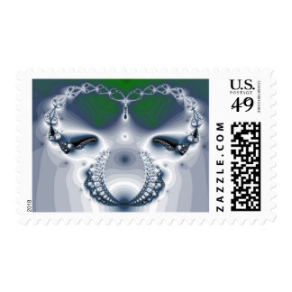 Abstract Chrome White Green Postage Stamps