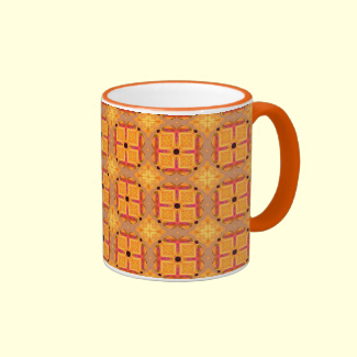 Abstract Cinnamon Apple Geometric Squares Diamonds Coffee Mugs