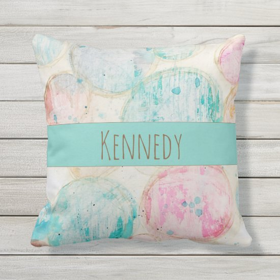 Abstract Circle Artistic Shabby Pastel Blue Orange Outdoor Pillow