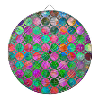 Abstract Circle Connect the Dots Dartboard With Darts