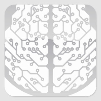 Abstract circle electronic brain square sticker