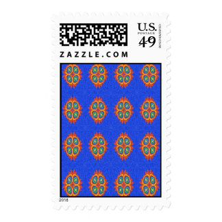 Abstract circle shape on blue background stamps