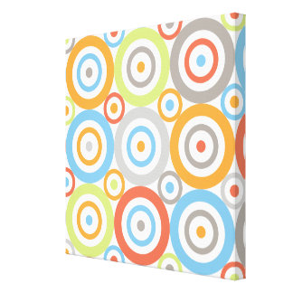 Abstract Circles 3x3 Ptn Color Mix & Greys Canvas Print