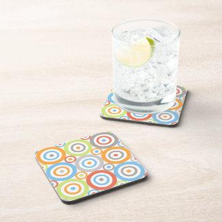 Abstract Circles 3x3 Ptn Color Mix & Greys Coaster
