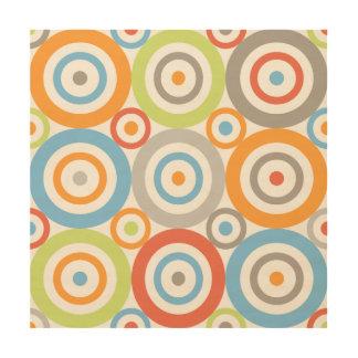 Abstract Circles 3x3 Ptn Color Mix & Greys Wood Wall Art