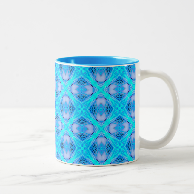 Abstract Circles Arches Lattice Aqua Blue Mug