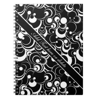 Abstract Circles Black Notebook