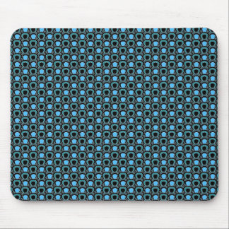 Abstract circles blue black & white vector pattern mouse pad