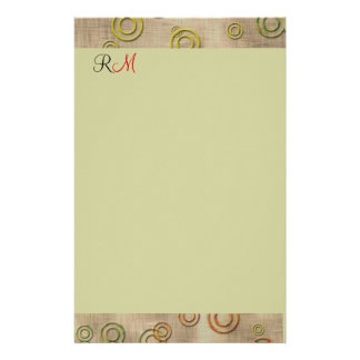 Abstract Circles Monogrammed Stationary-Mint Green Stationery