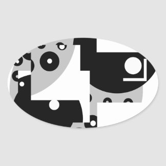 Abstract Circles Oval Sticker
