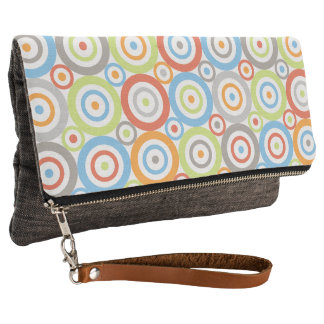 Abstract Circles Pattern Color Mix & Greys Clutch