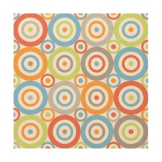 Abstract Circles Pattern Color Mix & Greys Wood Print