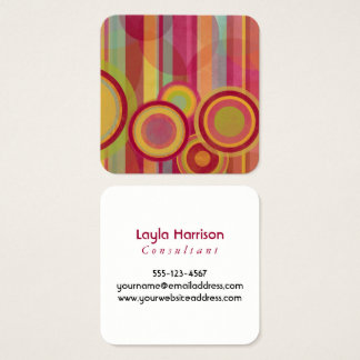 Abstract Circles & Stripes in Red, Greens, Yellows Square Business Card