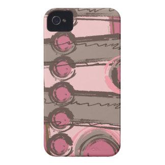 Abstract Circles Urban Monogram Pink Brown iPhone 4 Case