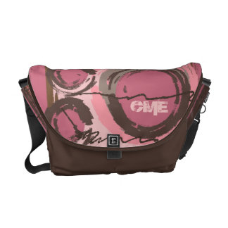 Abstract Circles Urban Monogram Pink Brown Messenger Bag