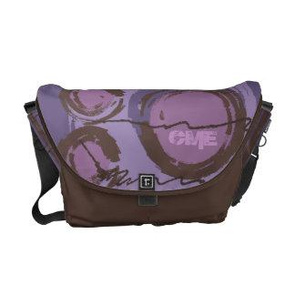 Abstract Circles Urban Monogram Purple Brown Courier Bag