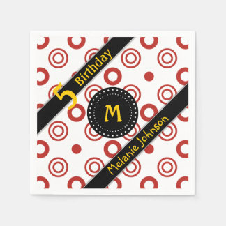 Abstract Circles with Monogram Birthday Napkin