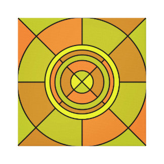 Abstract CircleWrapped Canvas (Green)