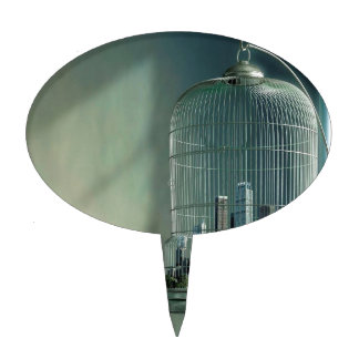 Abstract City Bird Cage Cake Topper