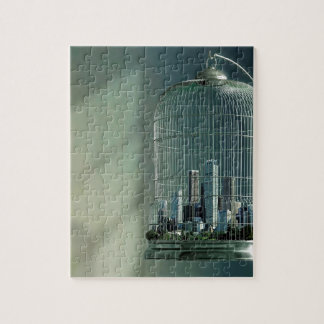 Abstract City Bird Cage Jigsaw Puzzles