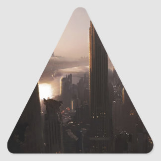 Abstract City Destruction Triangle Sticker