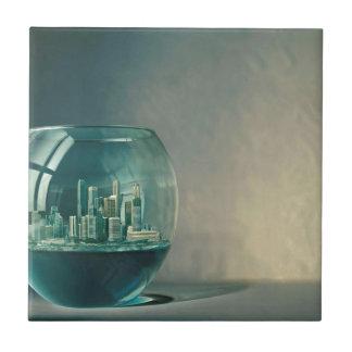 Abstract City Goldfish Bowl Ceramic Tiles
