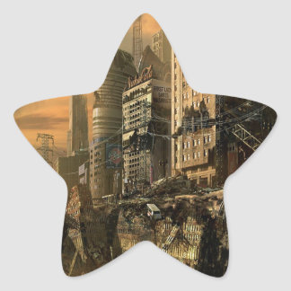 Abstract City Left Ruins Star Sticker