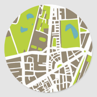Abstract city map for globetrotter classic round sticker