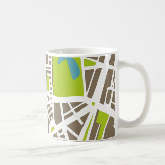 Abstract city map for globetrotter classic white coffee mug