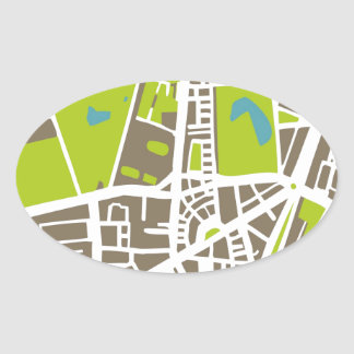 Abstract city map for globetrotter oval sticker