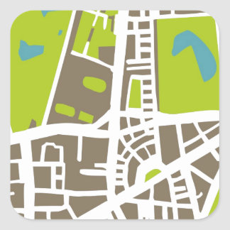 Abstract city map for globetrotter square sticker