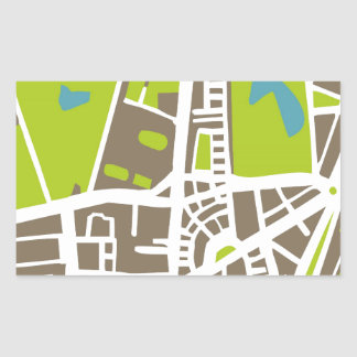 Abstract city map for globetrotter rectangular sticker