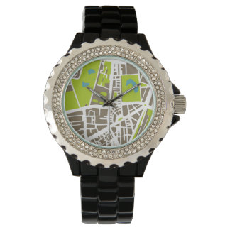 Abstract city map for globetrotter wrist watches
