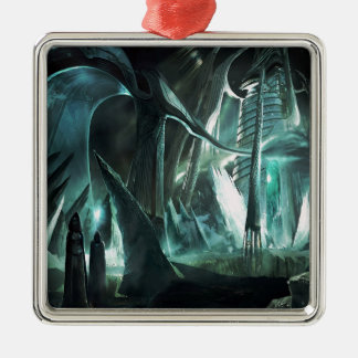 Abstract City Priest World Metal Ornament