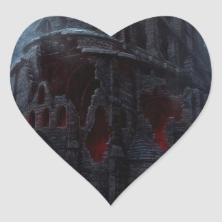 Abstract City Vampire Mill Heart Sticker