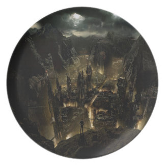 Abstract City Volcano Dinner Plates