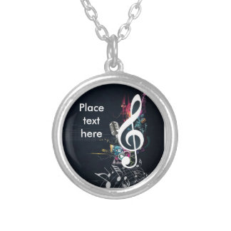 Abstract Cleft Note and Microphone Silver Plated Necklace