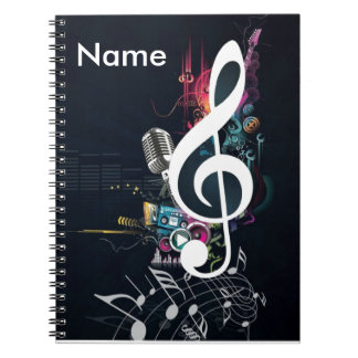 Abstract Cleft Note and Microphone Spiral Notebook