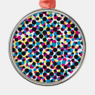 abstract CMYK halftone dot pattern, print texture Christmas Ornament