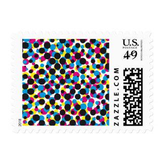 abstract CMYK halftone dot pattern, print texture Postage