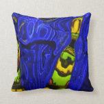 Abstract Cobalt Lime Green Yellow Throw Pillow