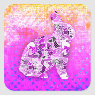 Abstract Collage Bunny Pink ID101 Square Sticker