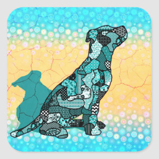 Abstract Collage Domingo the Dog ID106 Square Sticker