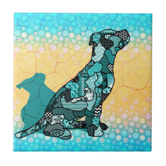 Abstract Collage Domingo the Dog ID106 Tile
