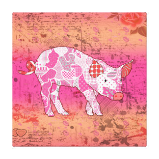 Abstract Collage Gabby the Pig ID111 Canvas Print