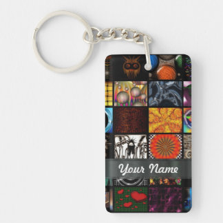 Abstract collage rectangular acrylic key chains