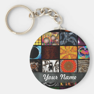 Abstract collage keychain