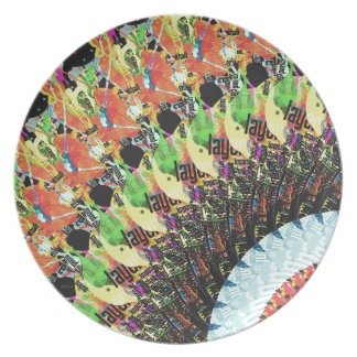 Abstract Collage of Colors 5 Melamine Plate