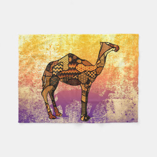 Abstract Collage Ozzy the Camel ID102 Fleece Blanket