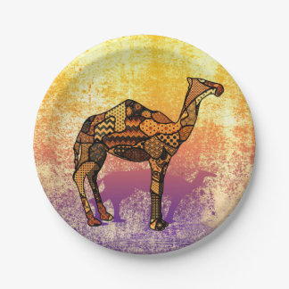 Abstract Collage Ozzy the Camel ID102 Paper Plate